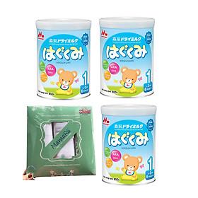 Combo 3 hộp sữa morinaga số 1 Hagukumi  (850g) - Tặng set 3 khăn tắm
