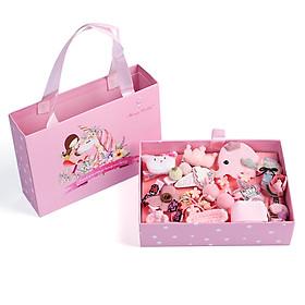 Hộp kẹp tóc 24 chi tiết (Phụ kiện tóc), màu hồng, loại có kẹp thỏ hồng, bươm bướm... vỏ túi sách hình cô gái và chú ngựa màu hồng. Sản phẩm siêu đẹp. Thích hợp làm quà tặng cho bé gái.