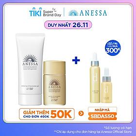 Bộ đôi Kem chống nắng dưỡng trắng dạng gel Anessa Whitening UV Sunscreen Gel 90g + Kem chống nắng dưỡng da dạng sữa bảo vệ hoàn hảo Anessa Perfect UV Sunscreen Skincare Milk SPF 50+ PA++++ 20ml
