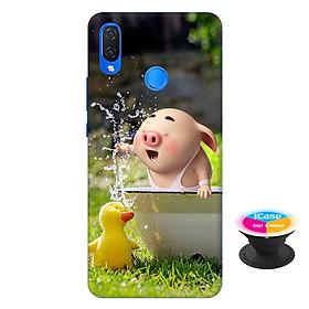 Ốp lưng nhựa dẻo dành cho Huawei Nova 3i in hình Heo Con Nghịch Nước - Tặng Popsocket in logo iCase - Hàng Chính Hãng