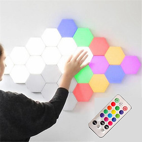RGB LED Lights Hexagon Wall-Mounted Night Light Wall DIY Modular Geometric Assembled Colorful Lamps USB Charging Remote/Touch Control Home Decor