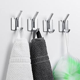 Bộ 4 Móc treo quần áo Inox 304 dán tường gạch men - có sẵn keo dán siêu dính - Móc treo đồ không cần khoan tường - HOBBY V137