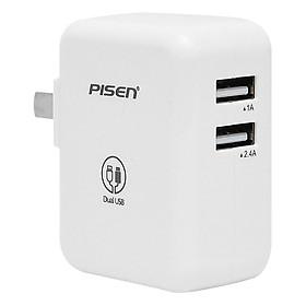 Adapter Sạc Pisen PowerPort 2 Dual USB iPad Charger 1A/2.4A - Trắng - Hàng Chính Hãng