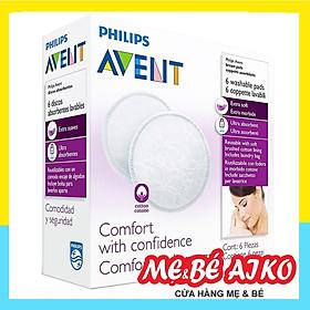 Miếng lót thấm sữa Philips Avent dùng nhiều lần (6 cái/hộp) SCF155/06