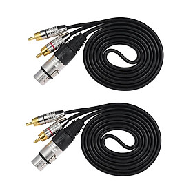 2pc XLR 3Pin Female To 2RCA Male Jack Speaker Audio Splitter Cable Connector