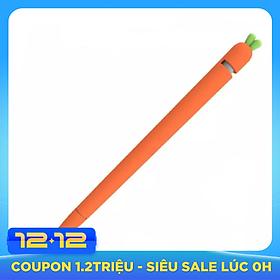 Ốp Silicon kiểu củ cà rốt dành cho Apple Pencil 1, 2 tặng kèm nắp bút và 4 chiếc bọc ngòi