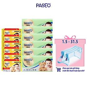 Combo 12 gói khăn giấy Paseo baby 50 tờ 3 lớp và khăn ướt em bé Paseo 50 tờ chiết xuất tinh dầu hoa cúc la mã