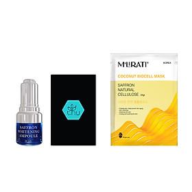 Saffron Whitening Ampoule 20ml + Mặt Nạ Sinh Học Nhụy Hoa Nghệ Tây M'Lirati (Saffron Natural Cellulose) - T.H.Y-0
