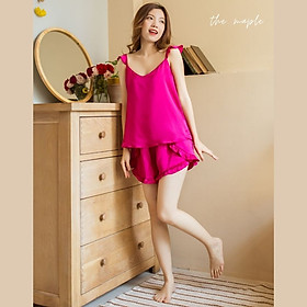 Bộ lụa mặc nhà tay cánh tiên The Maple Màu hồng tím Size M