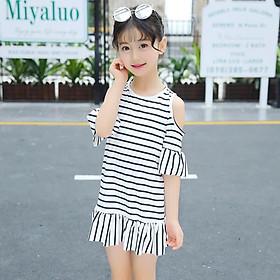 Đầm trắng sọc đen cho bé