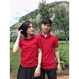 Đồ đôi áo cặp cổ bẻ CoupleTina 100% cotton cao cấp - màu đỏ đô nổi bật
