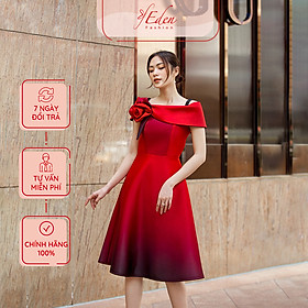 Đầm Dự Tiệc Thời Trang Eden Dáng Xòe Bẹt Vai - D425
