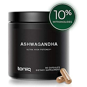 Ultra High Strength Ashwagandha Capsules - 10% Withanolides - 19,5000mg 15x Concentrated Extract - Wild Harvested in India - The Strongest Ashwagandha Anxiety Relief Support Available - 90 Caps