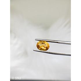 Cặp viên đá citrine thạch anh vàng 7 carat hình oval làm nhẫn mặt dây rất đẹp