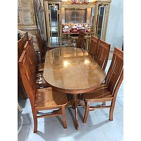 Bộ bàn ghế ăn bầu dục gỗ sồi màu cánh dán