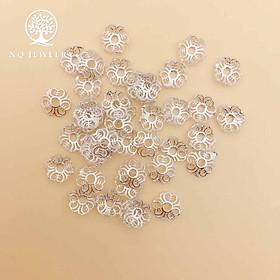Charm bạc trắng chụp hạt họa tiết xương cá - NQ Jewelry