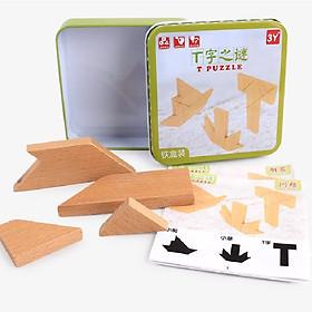 Hộp khối gỗ tạo hình chữ T đồ chơi trí tuệ