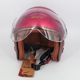 Mũ bảo hiểm 3/4 SRT 368K viền đồng lót nâu cao cấp có thông gió – kính càng – Đỏ đô – dành cho người đi phượt
