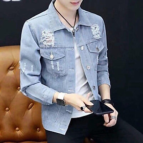 Áo khoác jeans nam , áo khoác nam xanh GT02 form vừa chất liệu mềm mềm co dãn lôi cuốn có mũ có 3 size Julido mẫu khoác AKJ8687 thời trang lịch lãm hàn quốc trẻ trung hiện đại
