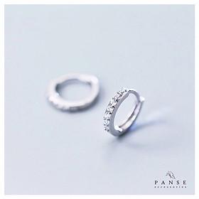 Khuyên tai nữ bạc 925 cao cấp - Bông tai bấm tròn đính đá lấp lánh đơn giản nữ tính