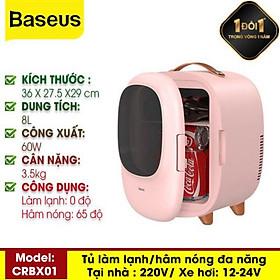 Tủ Lạnh Mini Dung Tích 8L  Làm Mát 0 Độ Làm Nóng 65 Độ Dễ Dàng Mang Đi Du Lịch, Picnic Hàng Chính Hãng Baseus
