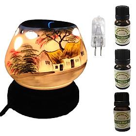 3 tinh dầu (Sả chanh, bạc hà, cà phê) Eco 10ml và đèn xông tinh dầu tam giác làng quê và 1 bóng đèn