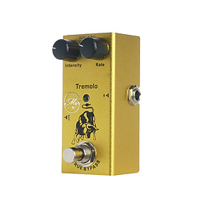 Tremolo Guitar Effect Pedal with ABS Control Knobs Mini Single Pedal for Electric Guitars DC 9V Yellow