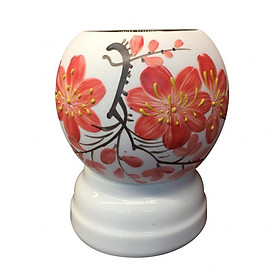 Đèn xông tinh dầu Bát Tràng họa tiết hoa đỏ