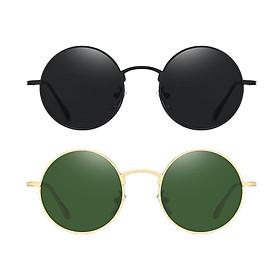 2Pcs Unisex Fashion Round Lens Sunglasses Punk Shades Rave Club Eyewear Gift