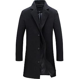 Biểu đồ lịch sử biến động giá bán Fashion Winter Men's Solid Color Trench Coat Warm Long Jacket Single Breasted Overcoat