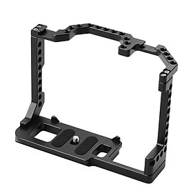 Andoer Camera Cage Aluminum Alloy with Dual Cold Shoe Mount 1/4 Inch Screw Compatible with Canon EOS 90D/80D/70D DSLR