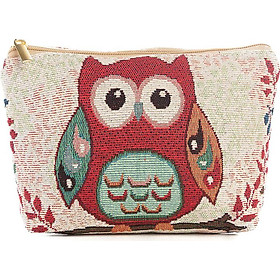 Vintage Women Cosmetic Bag Owl Pattern Storage Bag Zipper Portable Travel Bag