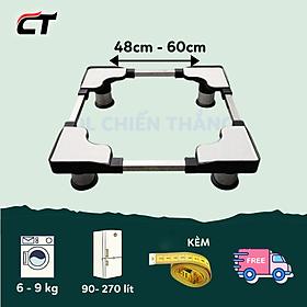 Chân đỡ máy giặt tủ lạnh đa năng 48cm đến 60cm INOX dày 1mm  Hàng Chính Hãng