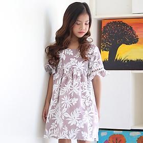 Đầm Bé Gái KIKA Lá Phong Ren Tay K085 - Nâu