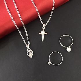 Set thời trang nữ 2 dây chuyền và 2 nhẫn ngọc trai