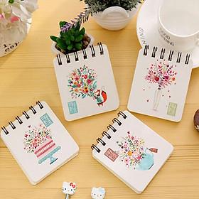 Combo 2 sổ tay lò xo mini hình bông hoa xinh xắn