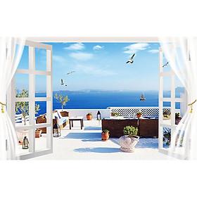 Tranh dán tường cửa sổ phong cảnh 3d 31