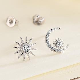 Khuyên tai  bạc xinh - Bông tai Bạc Nữ  925  hình răng bán nguyệt và ngôi sao dễ thương