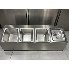 Combo 1 kệ và 4 bộ khay inox đựng gia vị ( thùng inox để khay gia vị) Tặng 2 ly mika