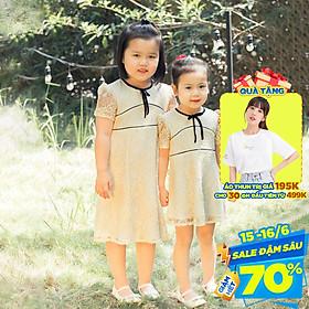 Đầm cho bé gái chất liệu ren phối viền dễ thương xinh xắn GUMAC DKA356 màu Kem ( dành cho bé gái từ 12 tháng đến 7 tuổi)