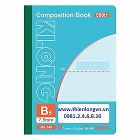 Sổ may dán gáy B5 - 500 trang; Klong 340 bìa xanh