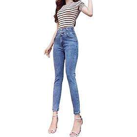 Quần jean nữ thời trang màu xanh cao cấp