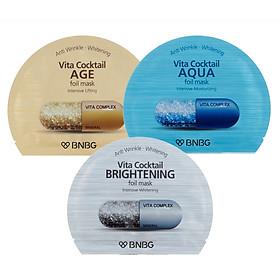 Combo 10 Mặt nạ lá nguyên khối cao cấp dưỡng da Banobagi Vita CocktailFoil Mask30ml x10 (Instensive Lifting, Instensive Brightening, Instensive Moisturizing)