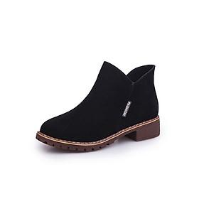 Giày Bốt Nữ Cổ Ngắn Da Lộn 2018 Khóa Kéo 3Fashion - MSP 3099 - Đen