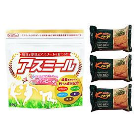 Sữa Phát triển chiều cao Asumiru Nhật Bản 180g - Vị Đào ( cho bé 3-16 tuổi ) – Tặng 03 bánh cracker tảo biển