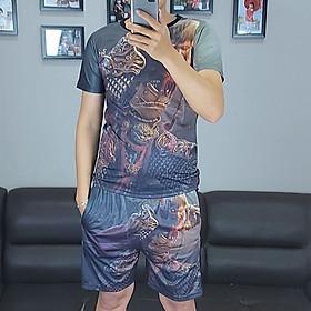 Bộ quần áo nam vải thun,bộ thể thao,bộ mặc nhà nam in họa tiết 3D-08