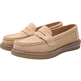 Ladies Retro Boat Shoes Suede Flat Slip Driving Shoes