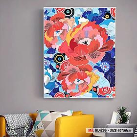 Tranh trang trí tự tô màu theo số hoa mẫu đơn cách điệu bảy sắc HL4296
