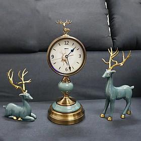 Tượng hươu sứ kèm đồng hồ để bàn xanh T75