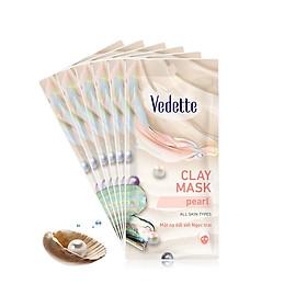 Combo 6 Mặt nạ đất sét sạch sâu dịu nhẹ Ngọc Trai Vedette Clay Mask Pearl 12g (Gói)